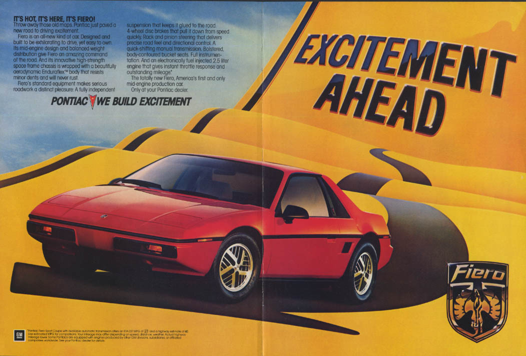 It's hot! It's here! It's Pontiac Fiero ad 1984 NY