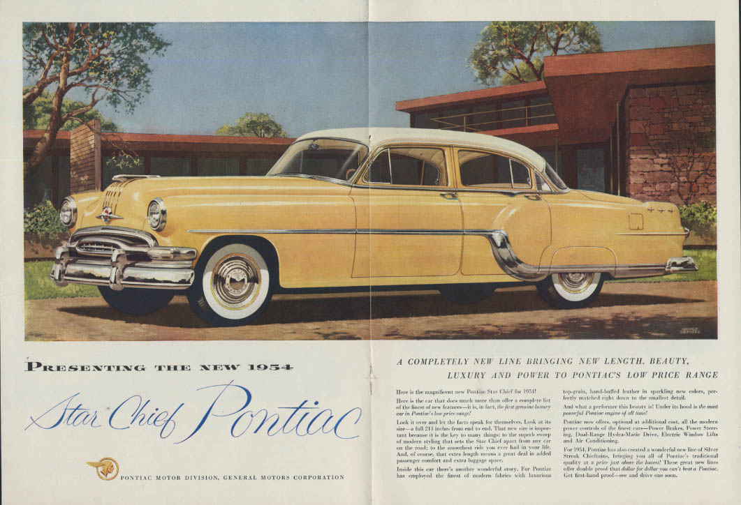 A completely new line Pontiac Star Chief 4-door Sedan ad 1954