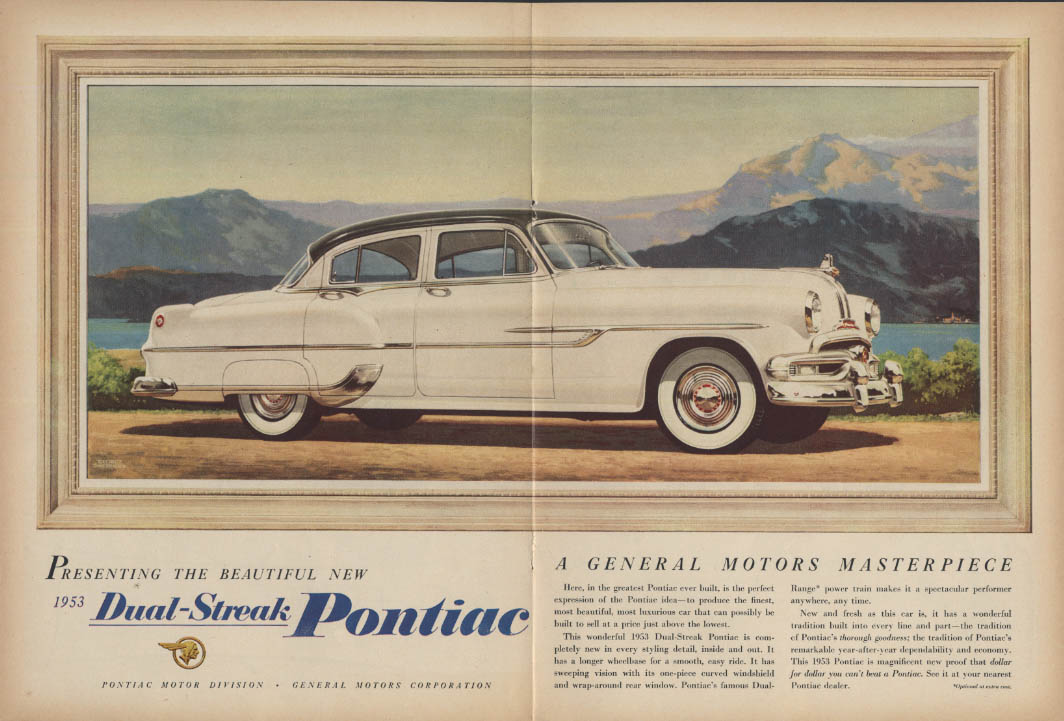 Presenting the beautiful new Dual-Streak Pontiac 4-door Sedan ad 1953 USN