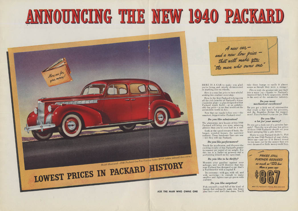Announcing the new 1940 Packard One-Ten / Coca-Cola tandem bicycle ad