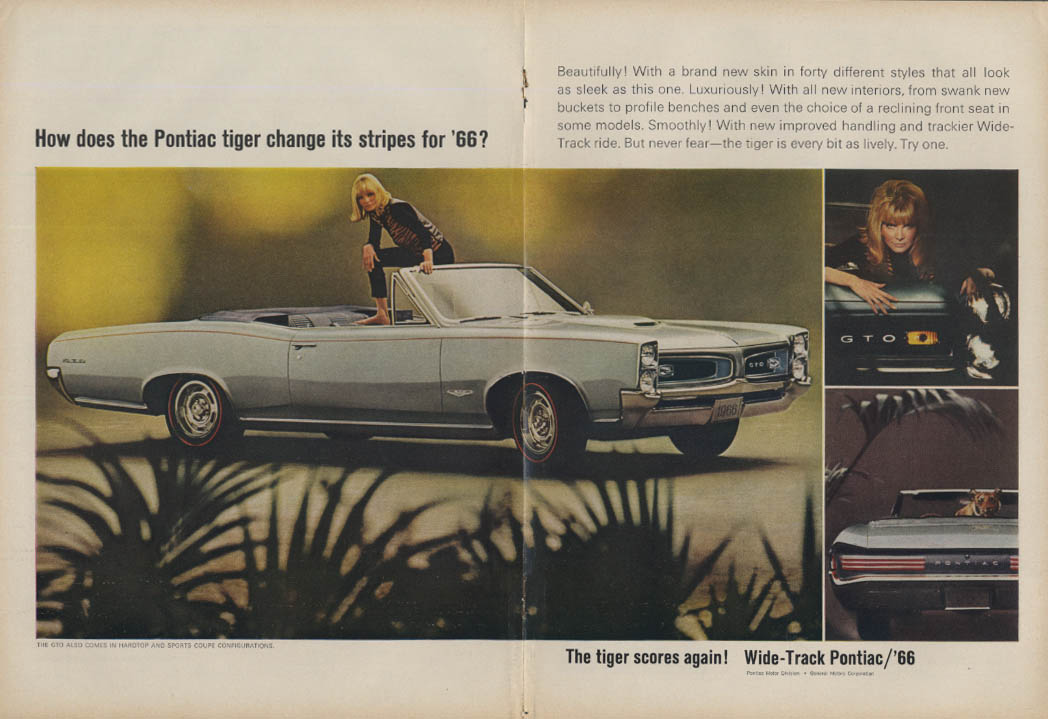 How does the Pontiac tiger change its stripes? GTO Convertble ad 1966 T