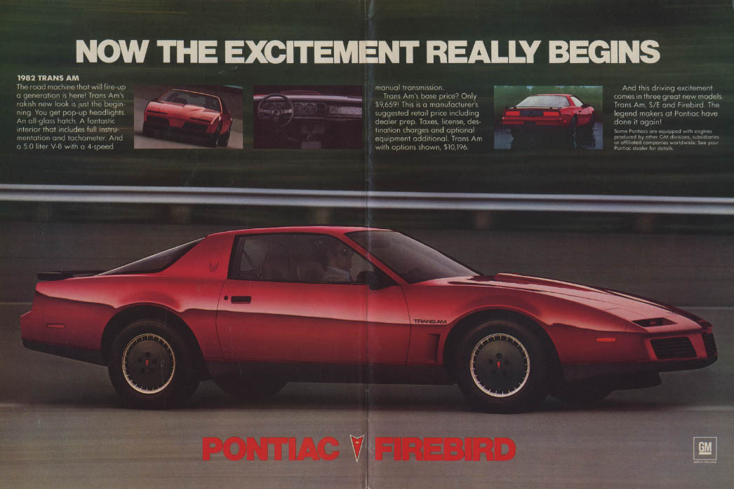 Now the excitement really begins Pontiac Trans Am ad 1982 MT