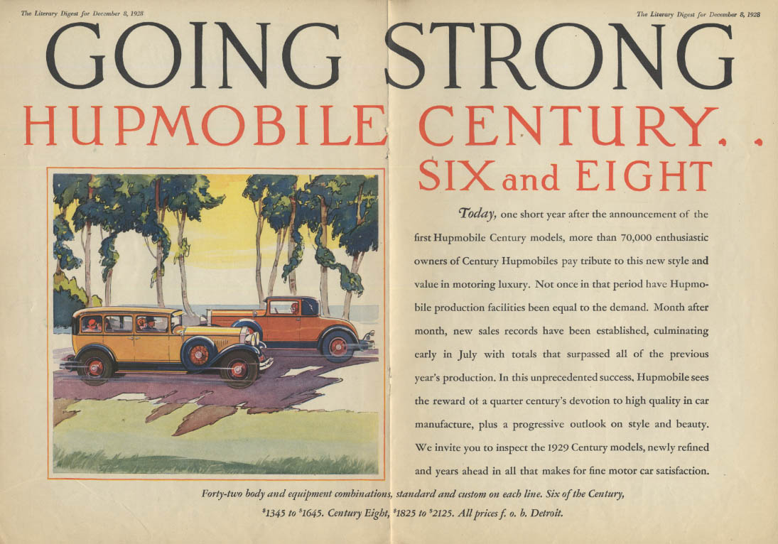 Going Dtrong Hupmobile 6 & 8 ad 1929 LD
