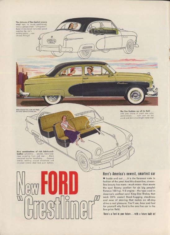 Arriving August 23 Frenc Line S S Liberte / Ford Crestliner ad 1950 NY