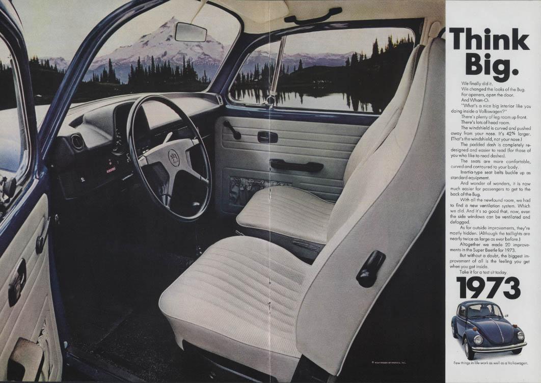 Think Big. Volkswagen Super Beetle ad 1973 NY