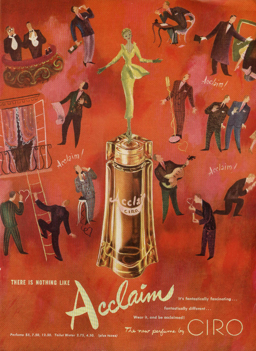 here is nothing like Acclaim Perfume by Ciro ad 1950 NY