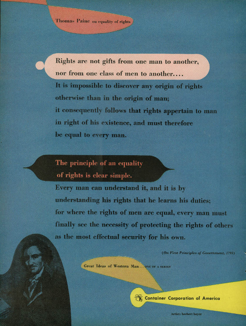 Thomas Paine equality of rights Container Corporation of America ad 1952 Bayer