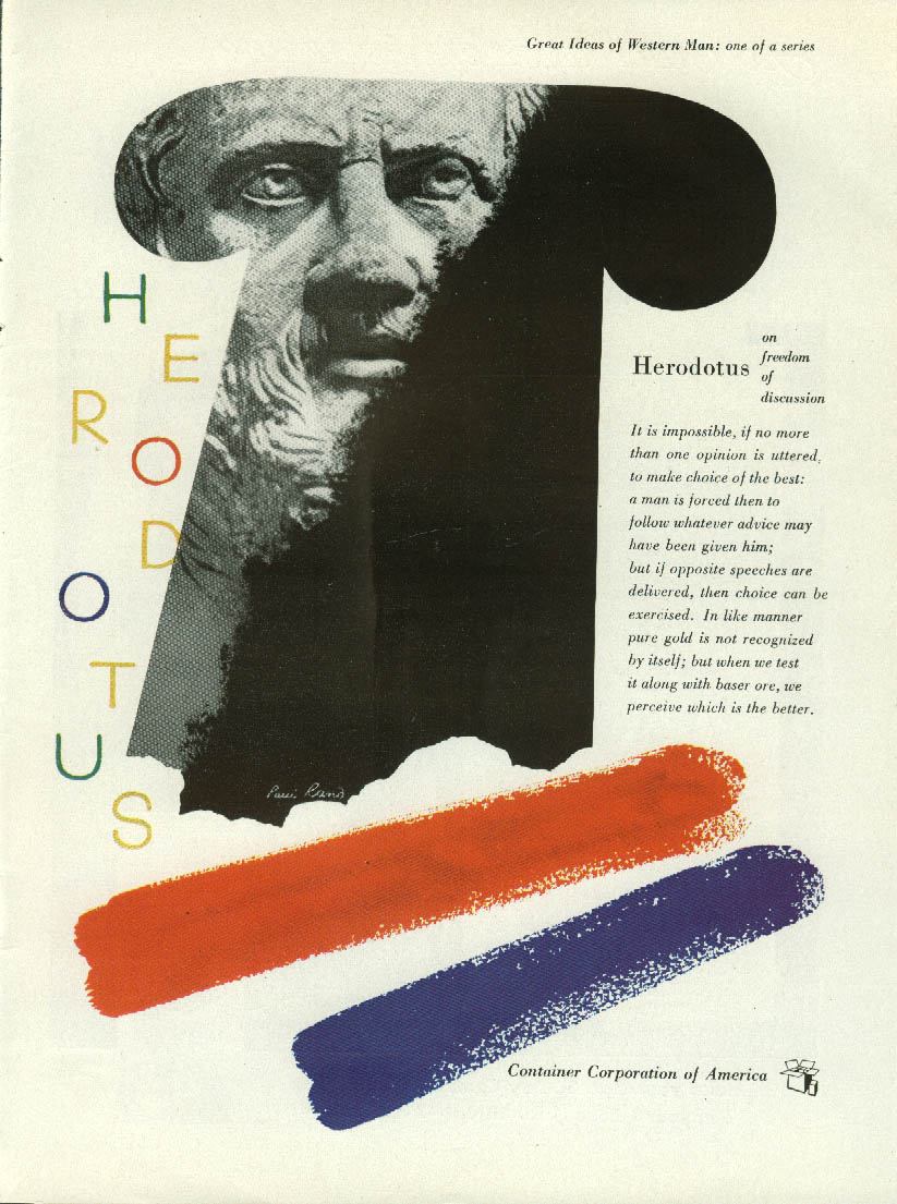 Herdotus freedom discussion Container Corporation of America ad 1951 Paul Rand