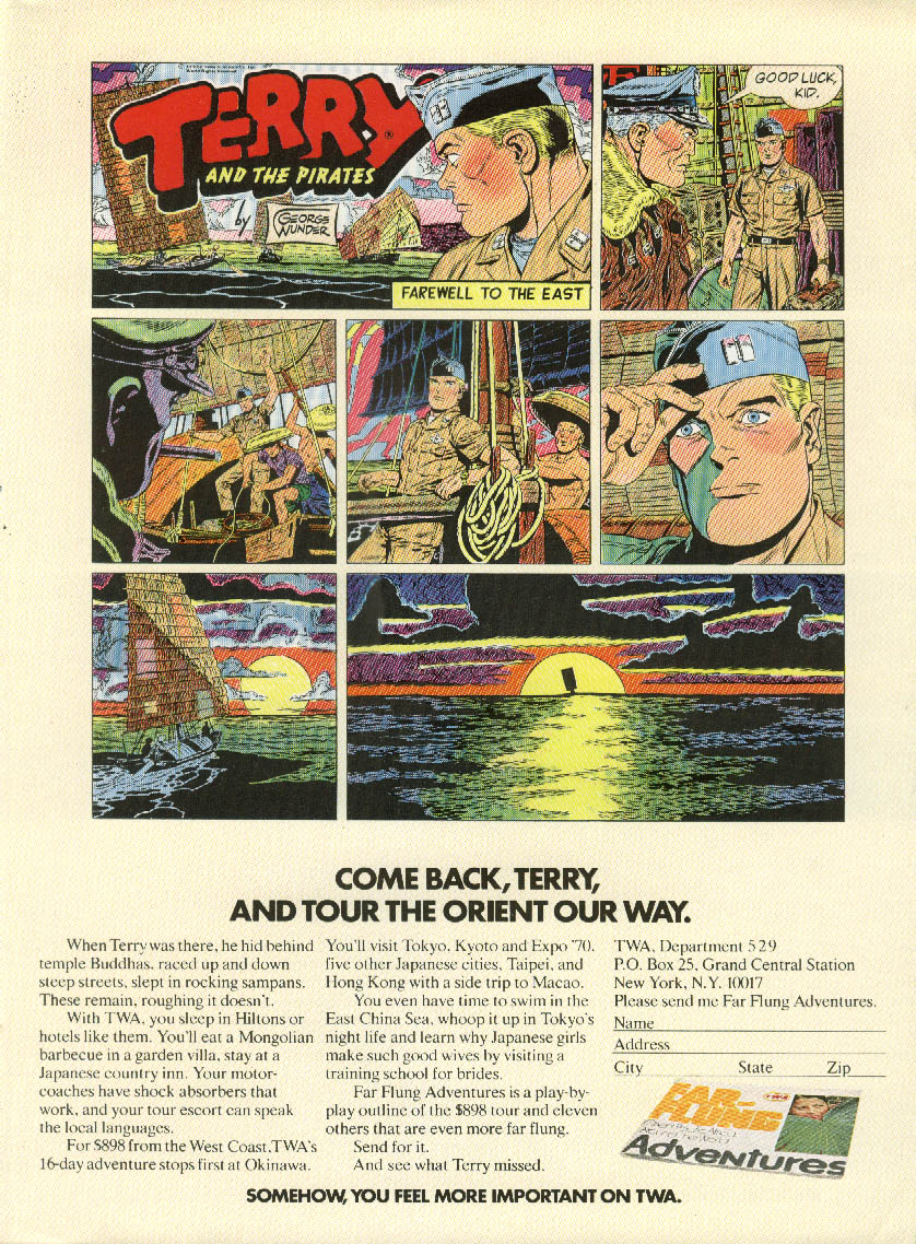 Come back, Terry TWA ad 1970 George Wunder Terry & the Pirates comic strip NY