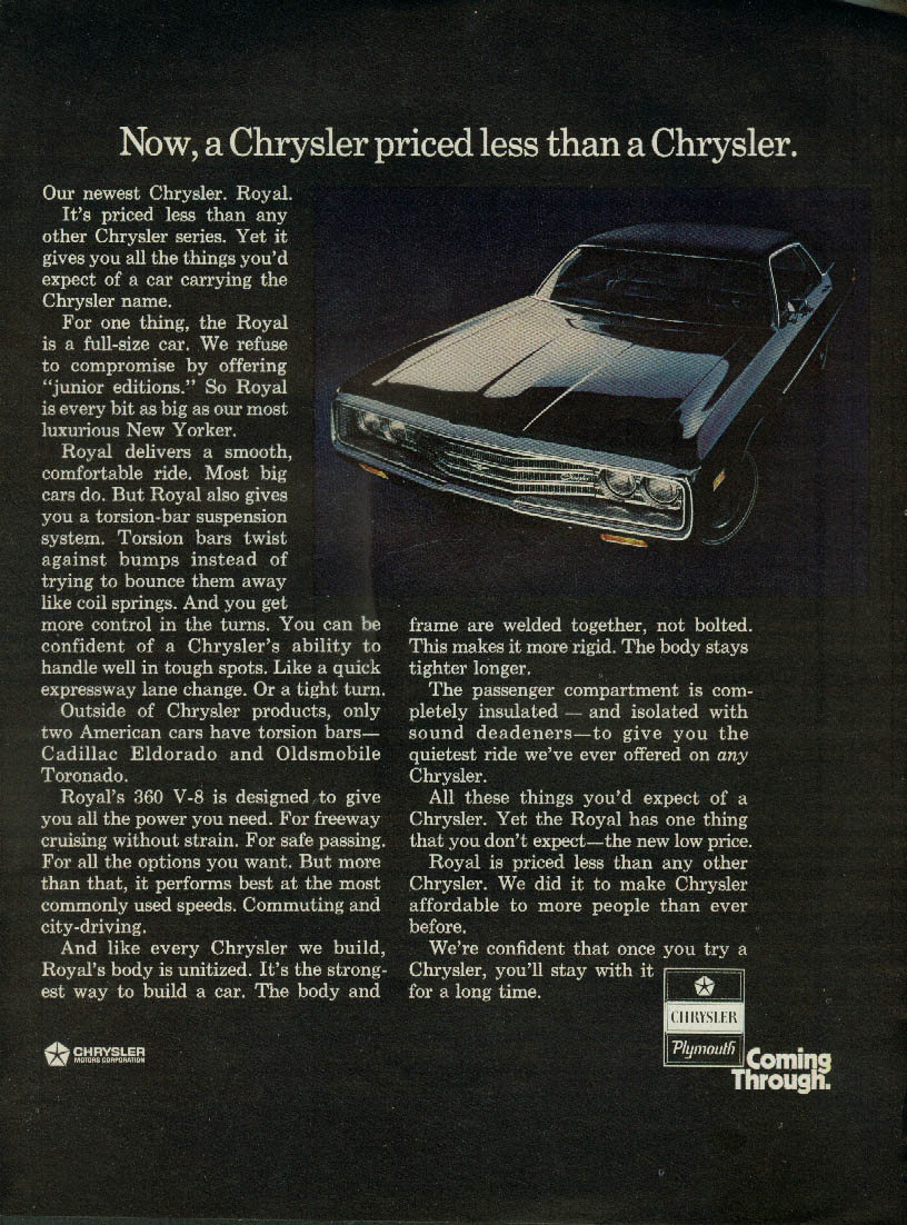 Now a Chrysler priced less than a Chrysler - Royal ad 1971 SI