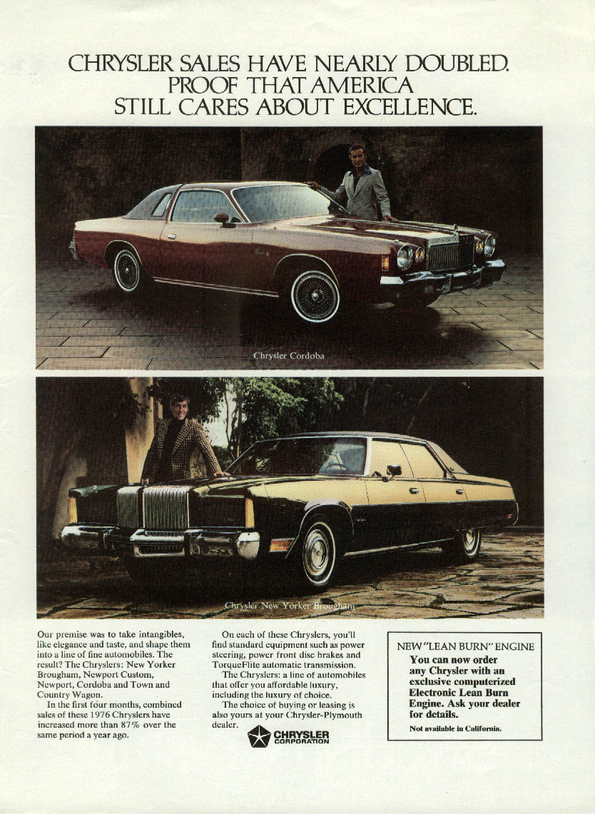 Sales have nearly doubled Chrysler Cordoba & New Yorker ad 1976 NY