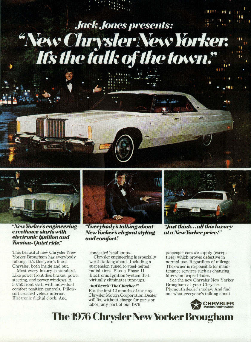 Jack Jones presents Chrysler New Yorker  - talk of the town ad 1976 NY
