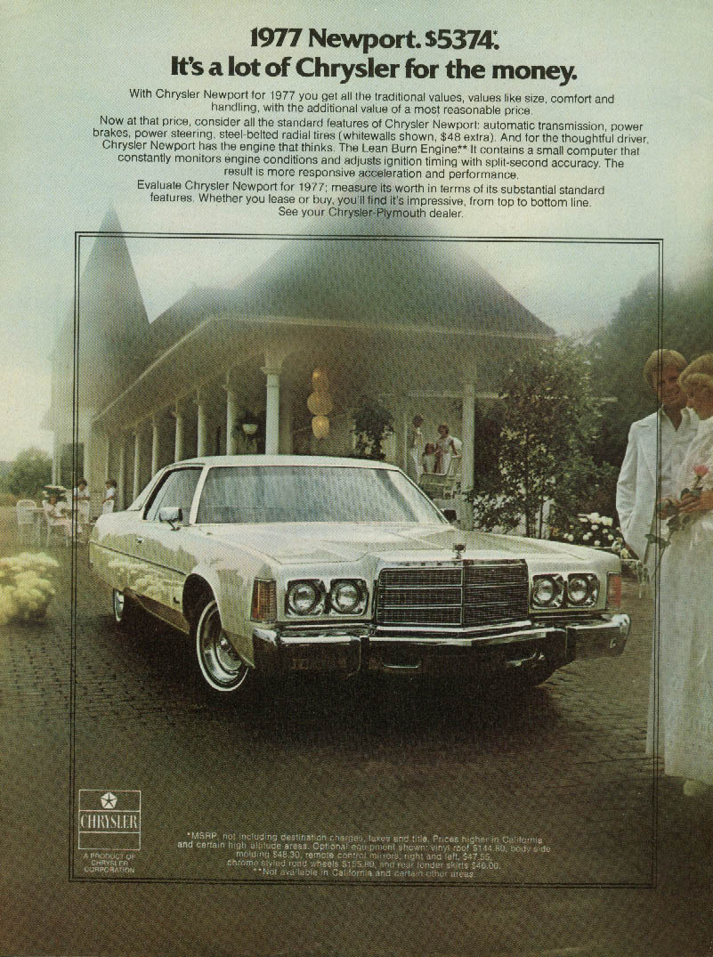 Newport $5374. It's a lot of Chrysler for the money ad 1977 Money