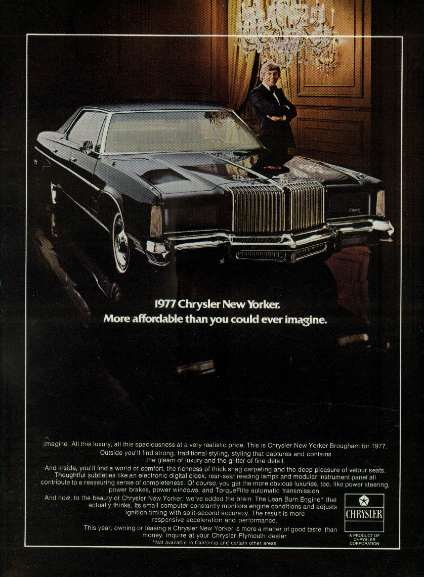 More affordable than you could ever imagine Chrysler New Yorker ad 1977 NY