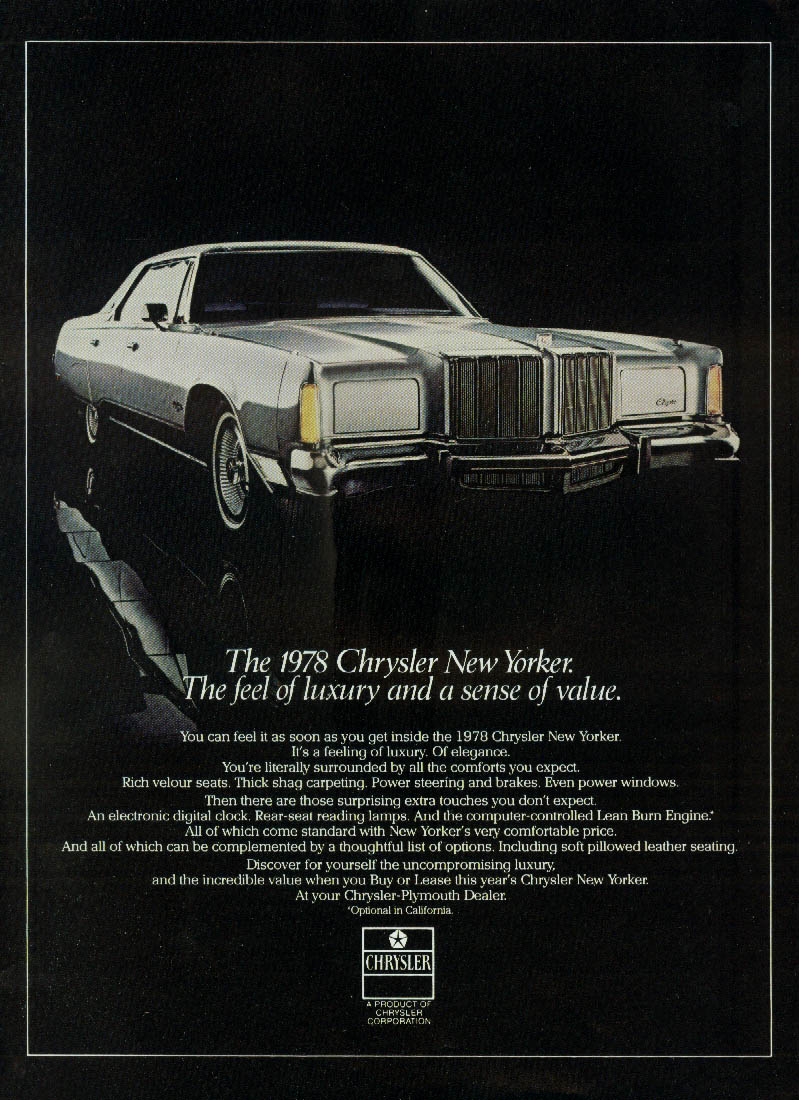 The feel of luxiry & a sense of value Chrysler New Yorker ad 1978 var