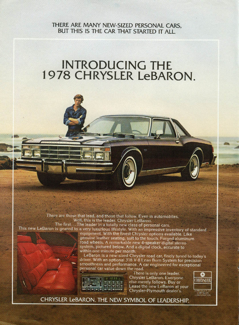 Frank Converse Introducing the Chrysler LeBaron Coupe ad 1978 NY
