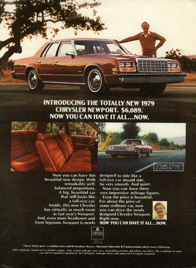 Hal Linden Introducing the totally new Chrysler Newport ad 1979 NY