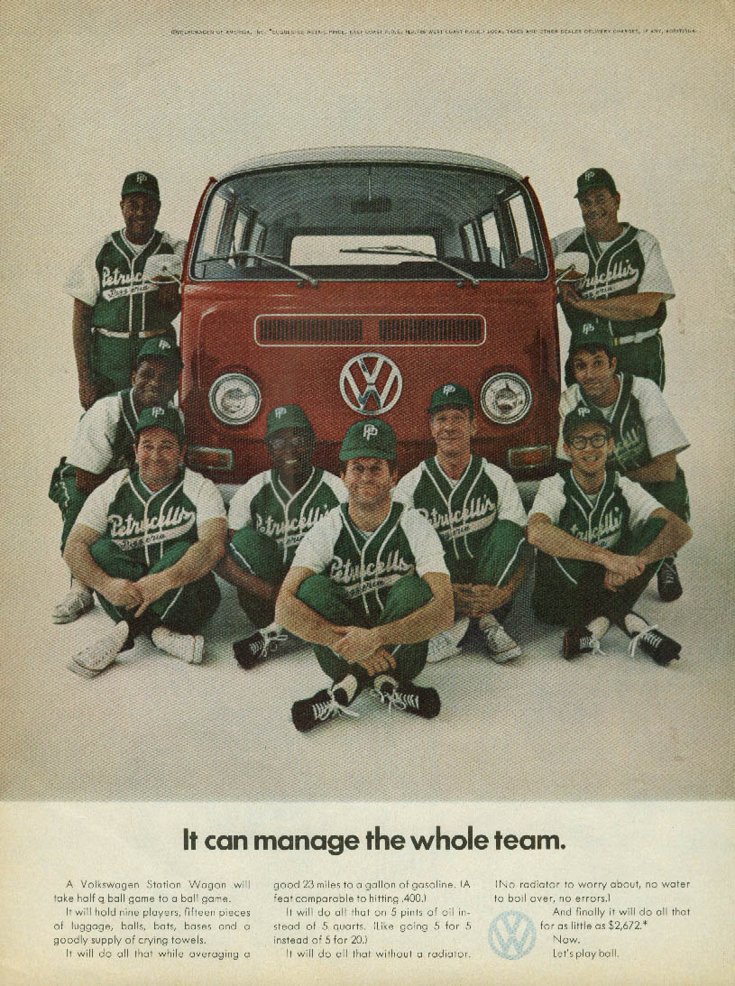 It can manage the Petrucelli's Pizzeria softball team Volkswagen Wagon ad 1969 T