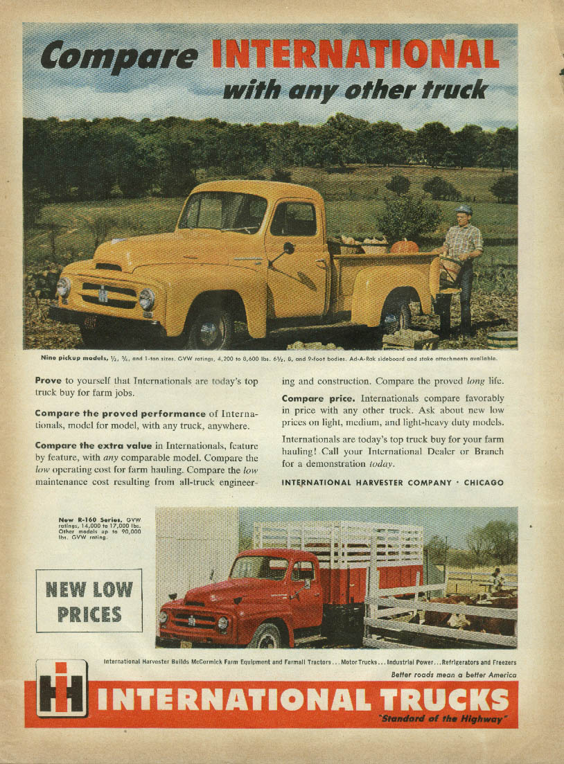 Compare International Pickup & Stake Body with any other truck ad 1953 FJ