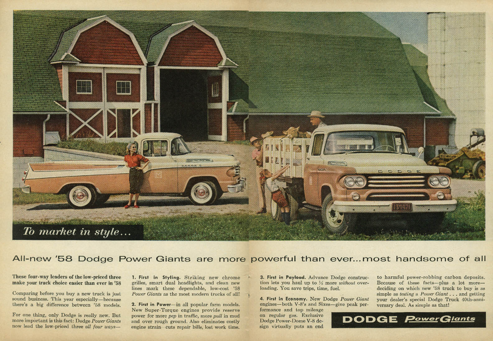 Dodge Power Giants more powerful most handsome ad 1958 Sweptside pickup