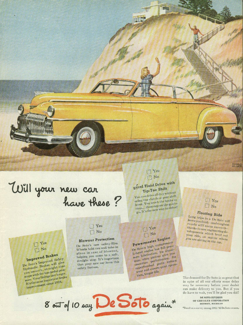 Will your new car have these? De Soto Convertible ad 1946 T/NW