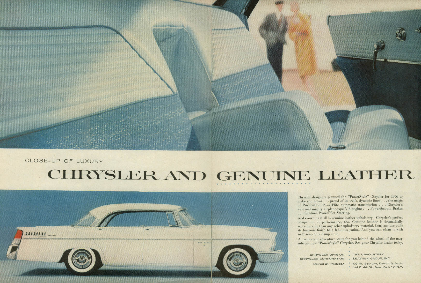 Close-up of Luxury Chrysler New Yorker Genuine Leather ad 1956 T