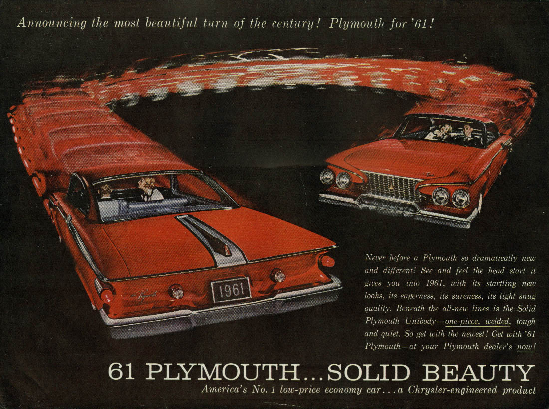 Never before so dramatically new & different Plymouth ad 1961 T