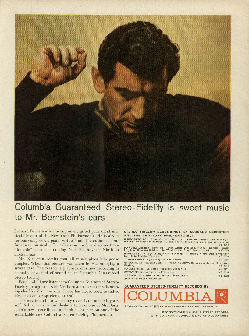 Leonard Bernstein for Columbia Guaranteed Stereo-Fidelity ad 1959 T