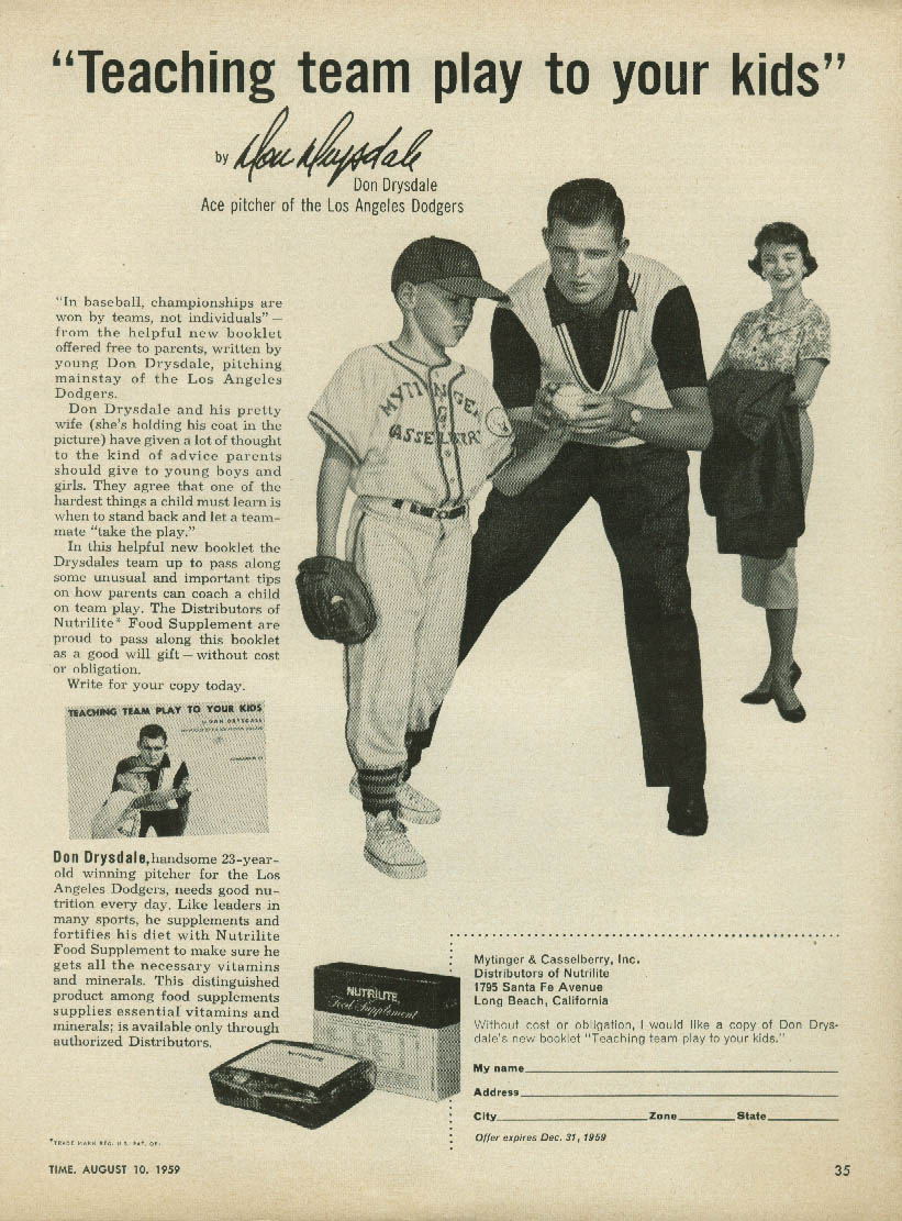 Los Angeles Dodgers Don Drysdale for Nutrilite Food Supplement ad 1959