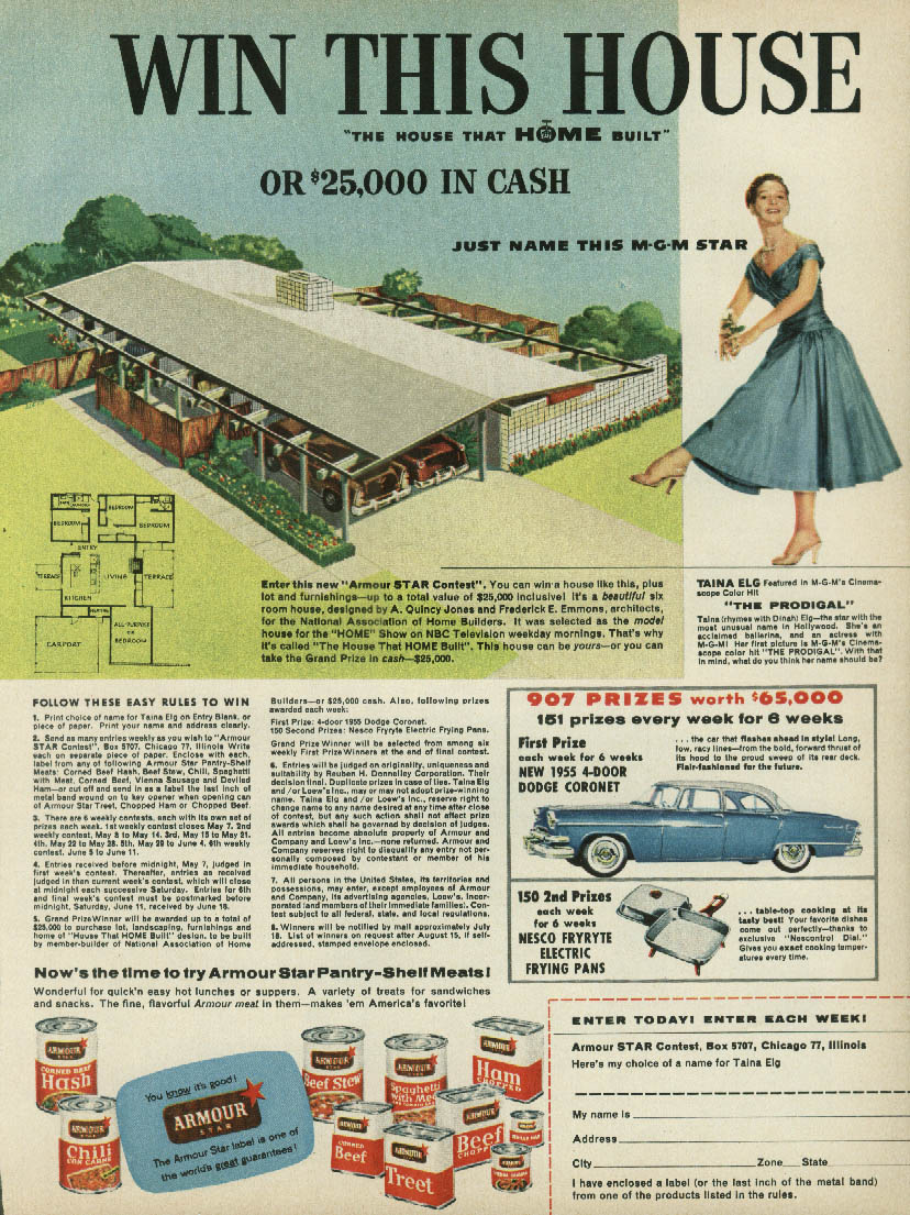 Win This House & 1955 Dodge Coronet Armour Star Meats Contest ad 1955