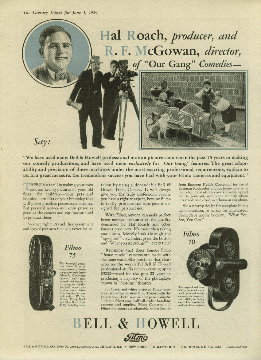 Hal Roach Our Gang Comedies for Bell & Howell Filmo Movie Camera ad 1929