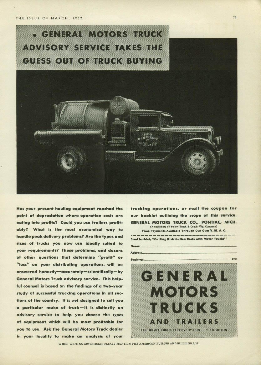 Hilltop Builders Supply General Motors Trucks ad 1932