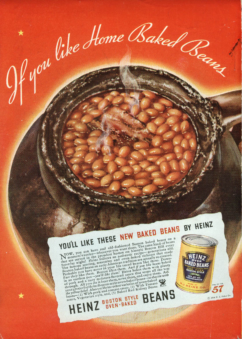 If you like Home Baked Beans Heinz Oven Baked Beans ad 1934