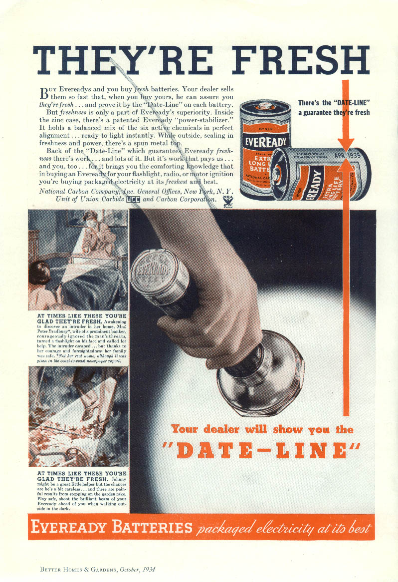 They're Fresh Eveready Flashlight Batteries ad 1934