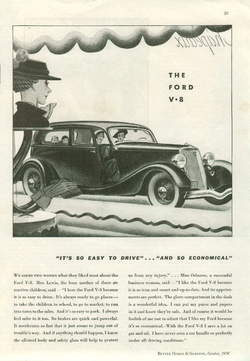 It's so easy to drive Ford Club Sedan V-8 ad 1934 BHG