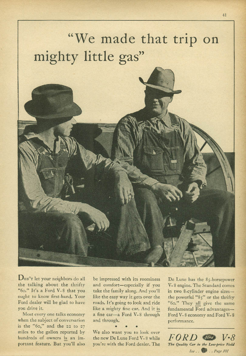 We made that trip on mighty little gas Ford V-8 ad 1938