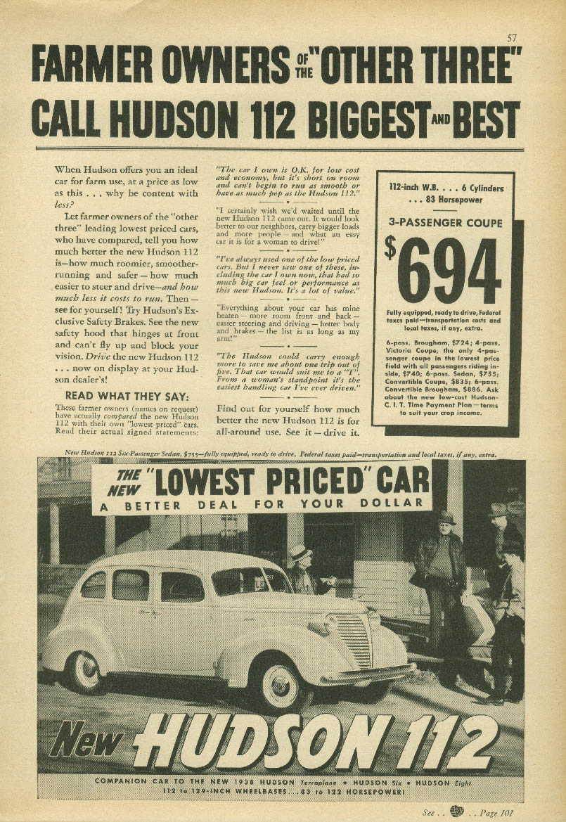 Farmer owners call Hudson 112 Biggest & Best ad 1938