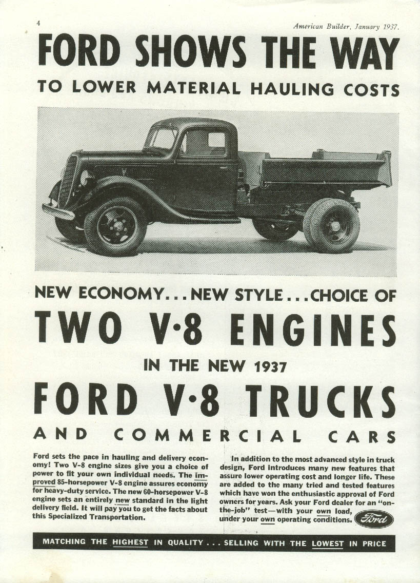 Lower material handling costs Ford Dump Truck ad 1937