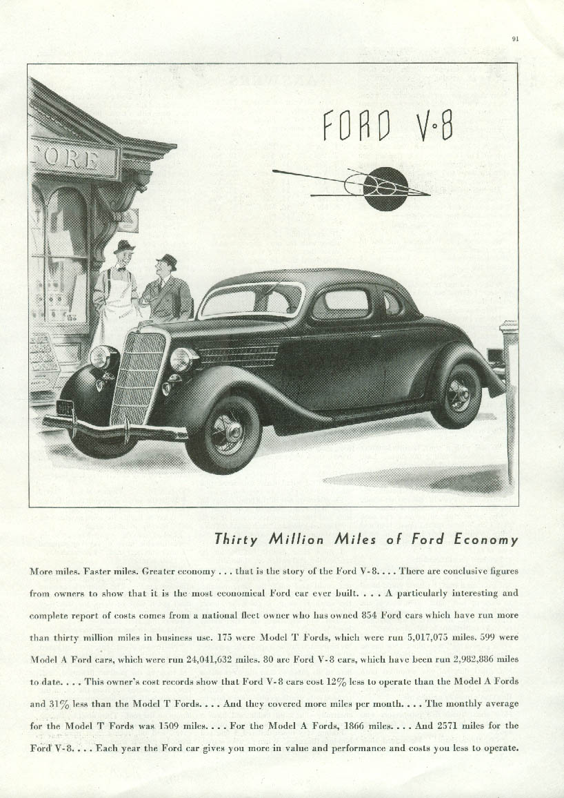 Thirty Million Miles of Economy Ford V-8 Coupe ad 1935 American