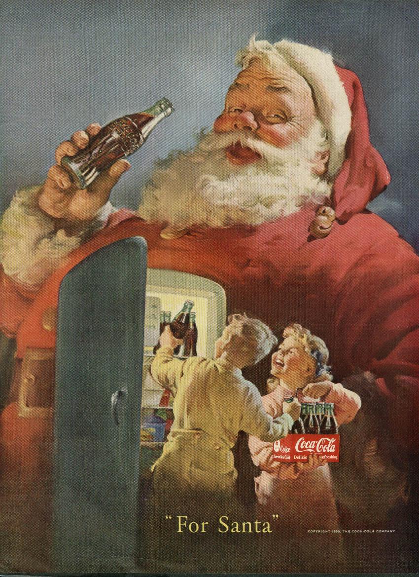 For Santa Coca-Cola ad 1950 kids load refrigerator Sundblom art NY