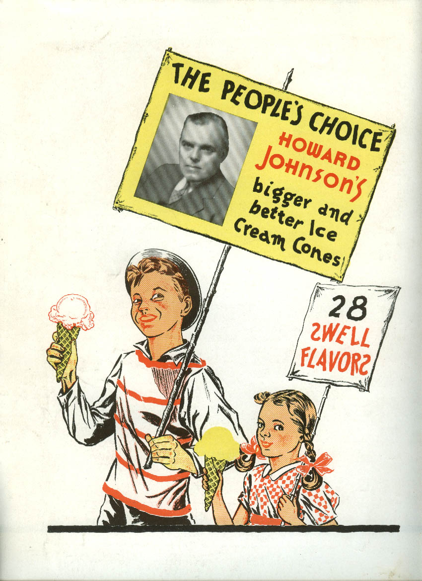 Howard Johnson's Ice Cream / New Haven Railroad More Trains to NY ad 1940