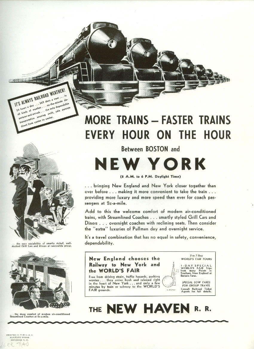Howard Johnson's Ice Cream / New Haven Railroad More Trains to NY ad 1940