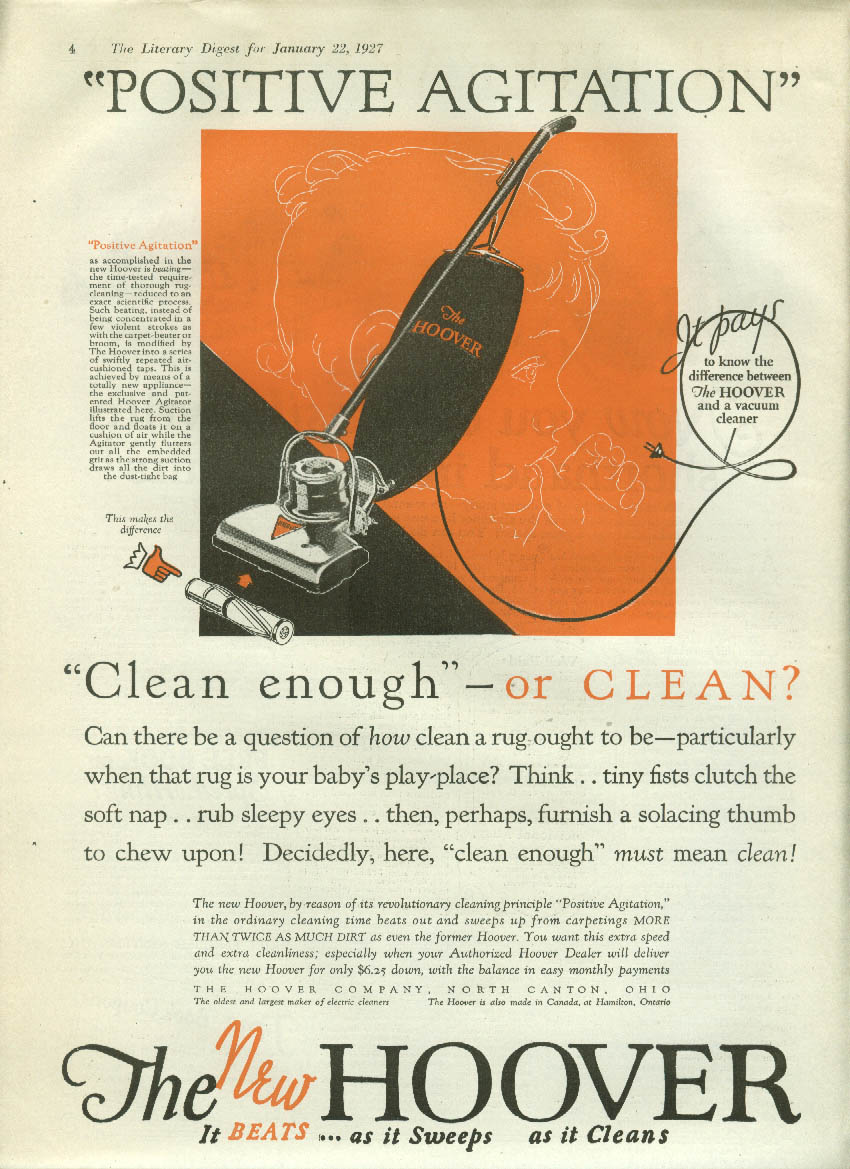 Clean enough or clean? Hoover Positive Agitation Vacuum Cleaner ad 1927 LD