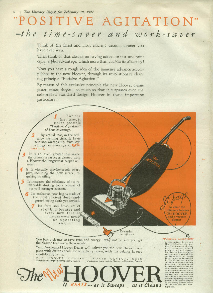 Time-saver & work-saver Hoover Positive Agitation Vacuum Cleaner ad 1927 LD