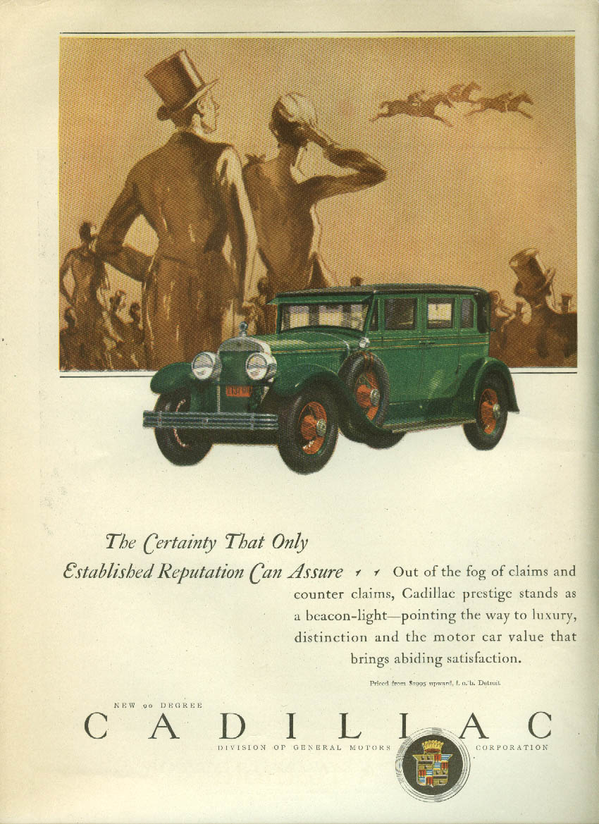 Certainty Only Established Reputation Can Assure Cadillac Sedan ad 1927 LD
