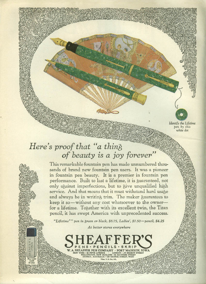 A thing of beauty is a joy forever Sheaffer Pen & Pencil ad 1927 LD