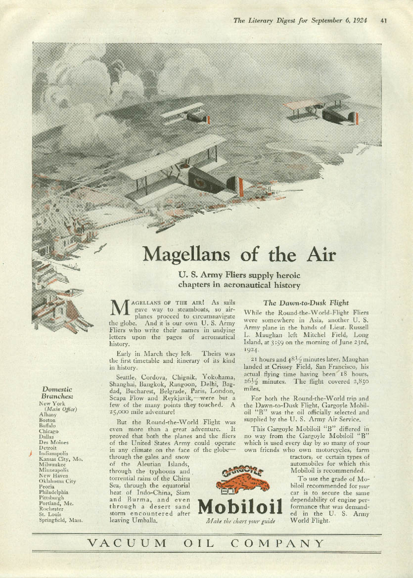 Magellans of the Air US Army Fliers Round-the-World Mobiloil ad 1924
