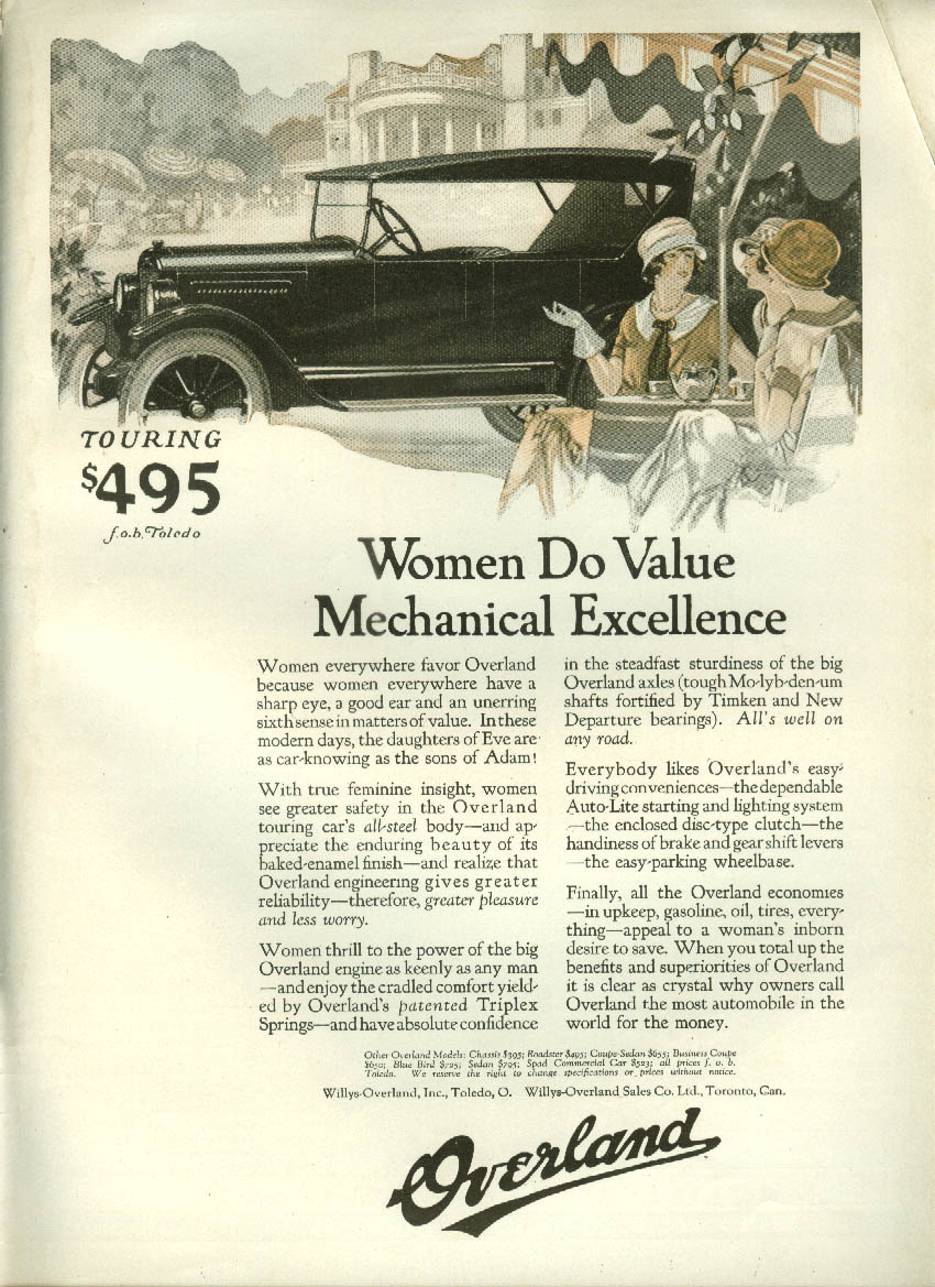 Women Do Value Mechanical Excellence Overland Touring Car ad 1924 LD