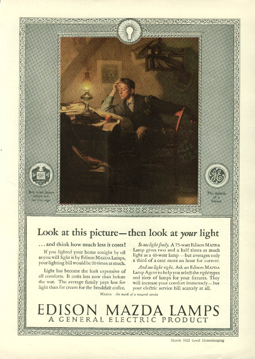 Look at your light Edison Mazda Lamps ad 1925 Norman Rockwell