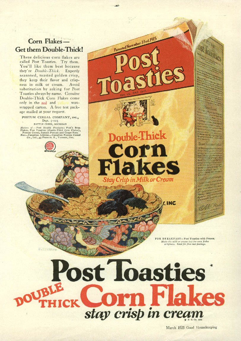 Get them Double-Thick! Post Toasties Corn Flakes ad 1925 GH